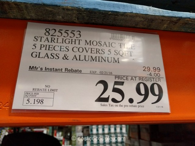 Starlight Glass and Aluminum Mosaic Wall Tile Set Costco 1