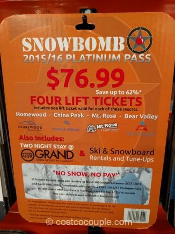Gift Card Snowbomb Platinum Pass Costco 1