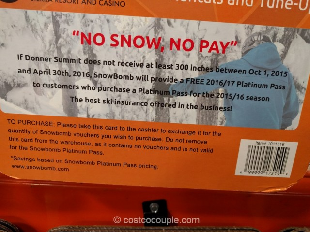 Gift Card Snowbomb Platinum Pass Costco 2