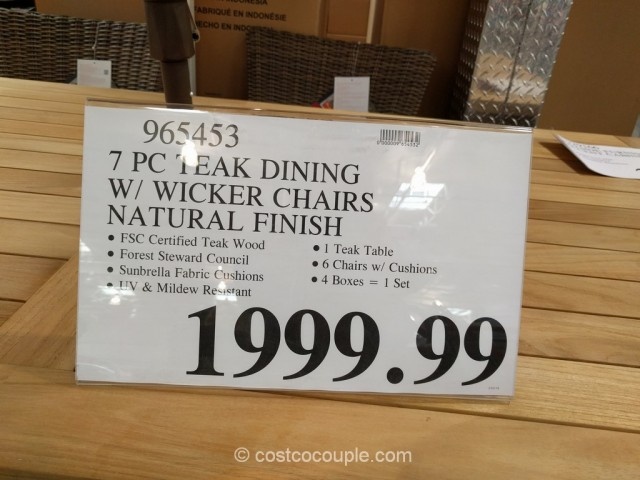 ... 7 Piece Teak Dining Set Costco 4