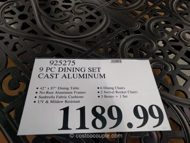 9 Piece Cast Aluminum Dining Set