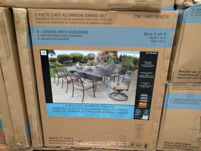 Watch Online 9 Piece Cast Aluminum Patio Dining Set Full