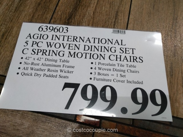 Agio International 5-Piece Woven Dining Set Costco 1