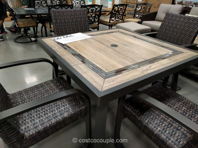 Fire Pit Table And Chairs Costco Hanamint Mayfair Rectangular Extension Table together with Curved ...