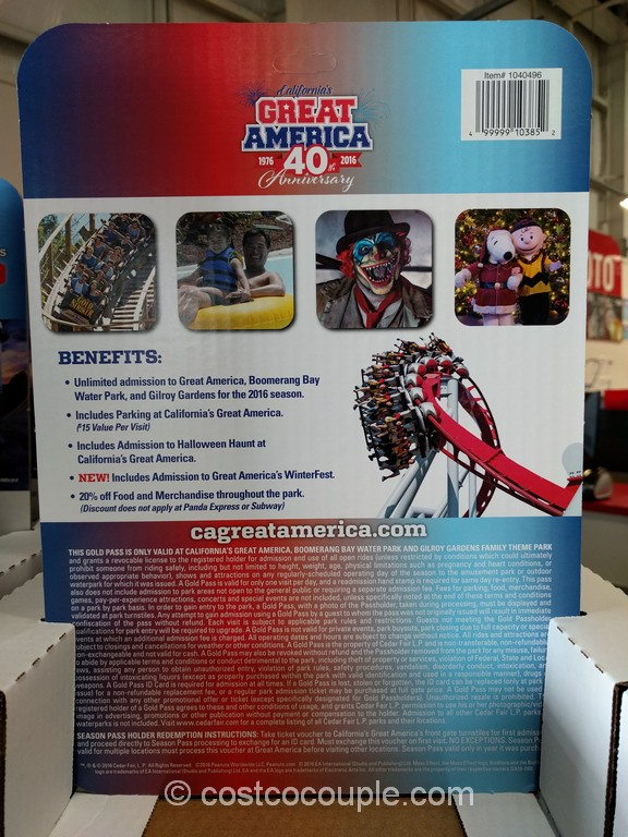 Great America 2016 Gold Season Pass Costco 4