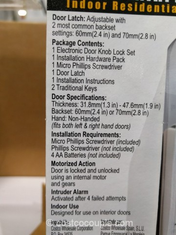 Mi Products Keyless Electronic Keypad Entry Door Knob Costco 6
