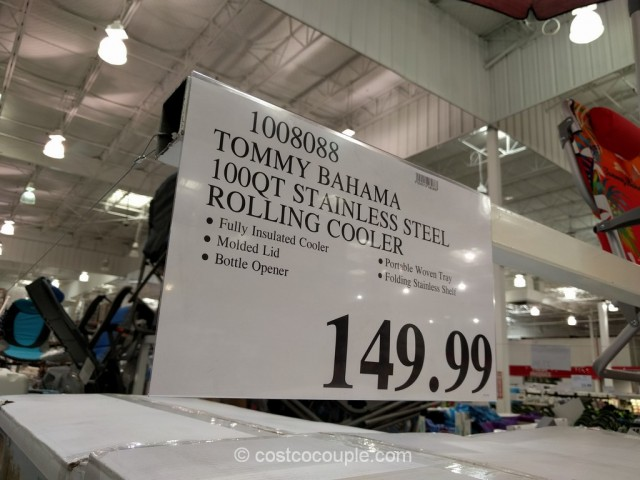 Tommy Bahama 100 Qt Stainless Steel Rolling Cooler Costco 1