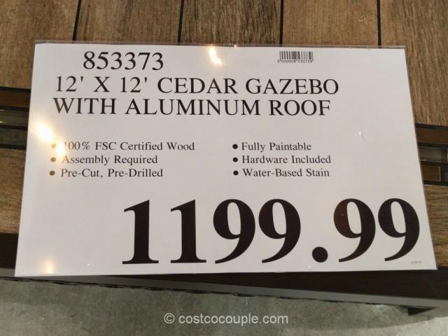 Yardistry Wood Gazebo With Aluminum Roof
