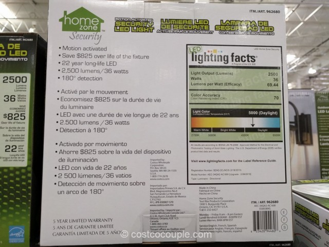 Home Zone Security Motion Activated LED Light Costco 5