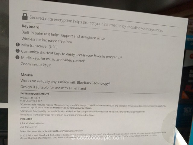 Microsoft Wireless Keyboard and Mouse Set Costco 4