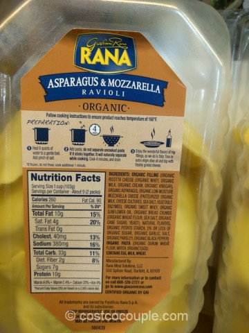 Rana Organic Asparagus and Mozzarella Ravioli Costco 2