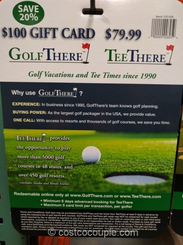 Gift Card Golf There Tee There Costco 3