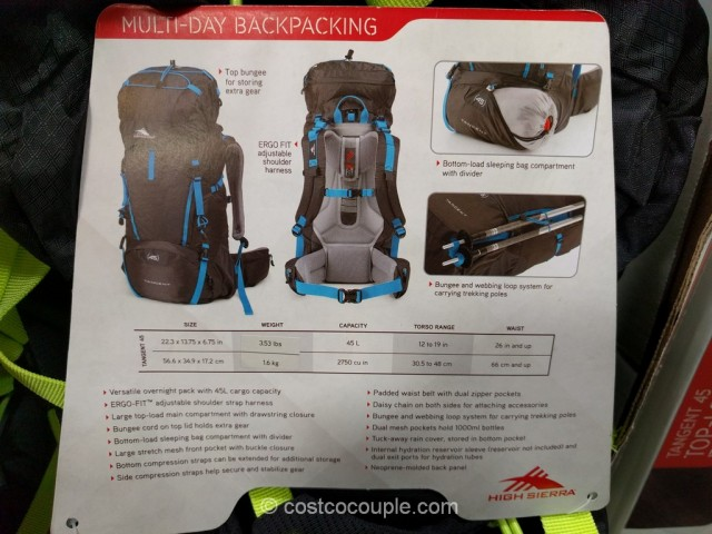 High Sierra 45 L Top-Loading Frame Pack Costco 4