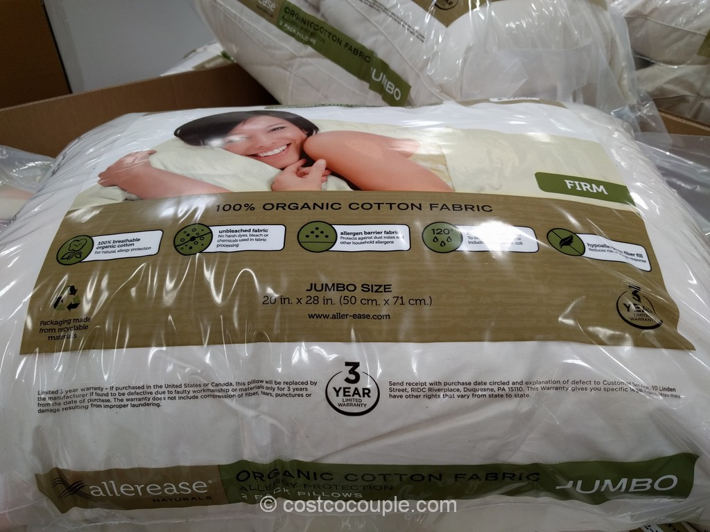 Allerease Naturals Organic Cotton Cover Jumbo Pillow Costco 2