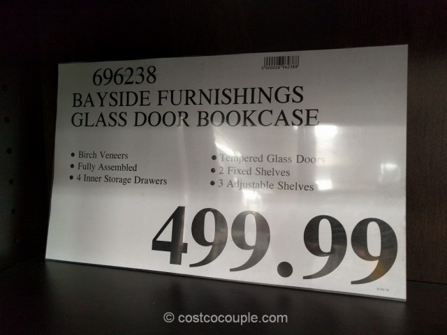 Bayside Furnishings Glass Door Bookcase Costco 1