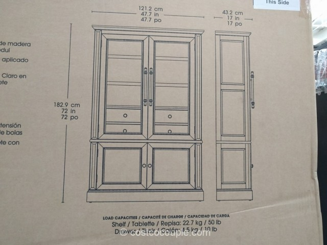 Bayside Furnishings Glass Door Bookcase Costco 5