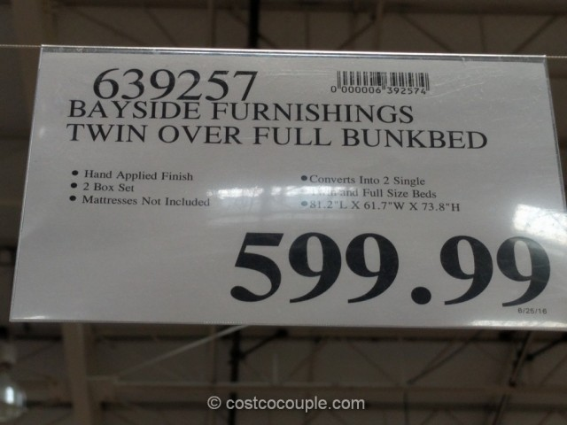 Bayside Furnishings Twin Over Full Bunkbed Costco 1