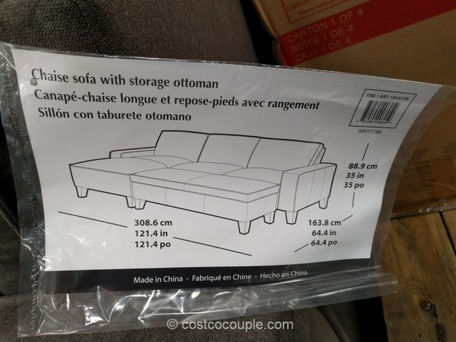 Chaise Sofa with Storage Ottoman Costco 5