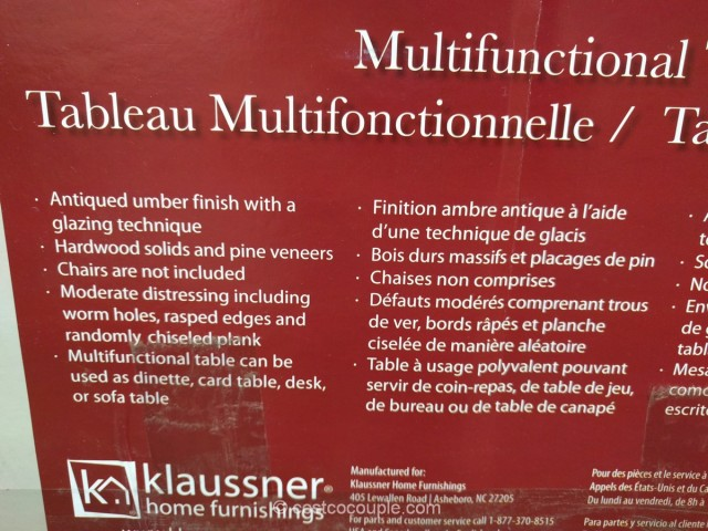 Klaussner Multifunctional Table Costco 6