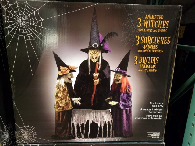 animated 3 witches halloween decor