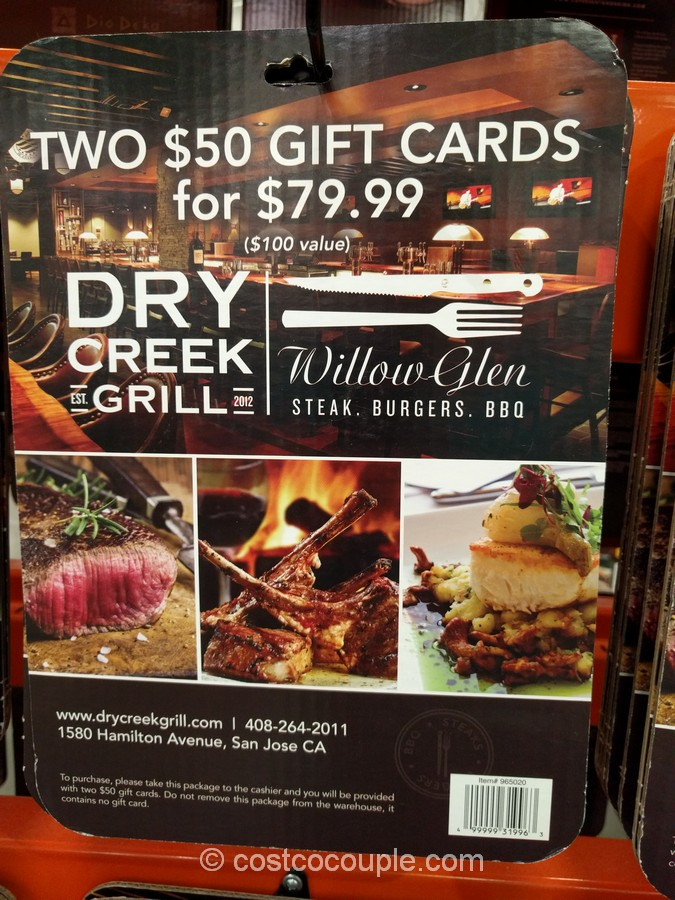 Gift Card Dry Creek Grill Costco 2