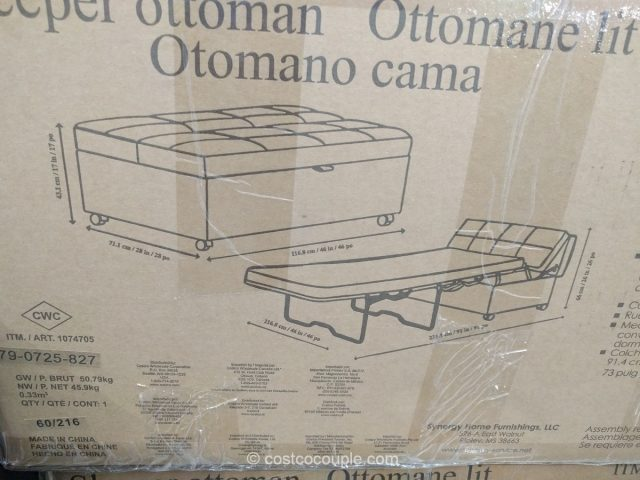 Synergy Home Sleeper Ottoman Costco 6