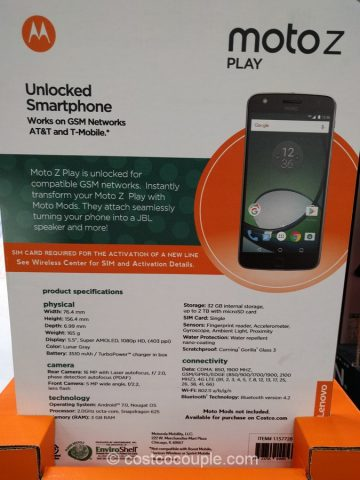 Moto Z Play Unlocked Smartphone Costco