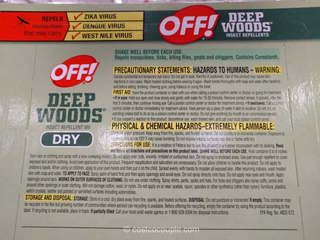 Off Deep Woods Dry Insect Repellent Costco