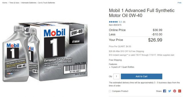 Mobil 1 Advanced Full Synthetic Motor Oil 0W-40 Costco