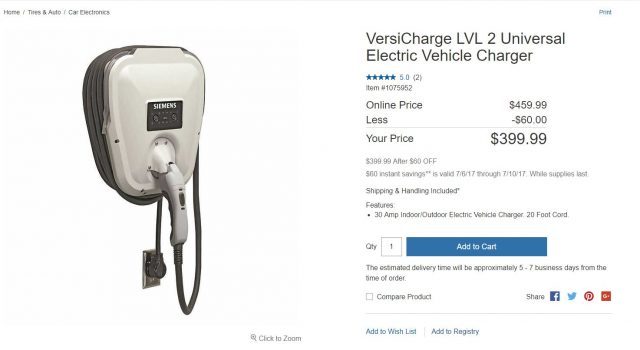 Siemens VersiCharge 30 Amp Electric Vehicle Charger VC30GRYU Costco