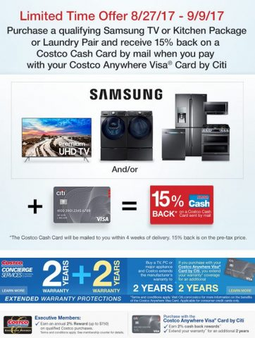 Costco's Samsung + Citi appliance offer