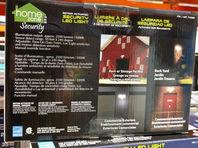 Home Zone LED Security Light Costco