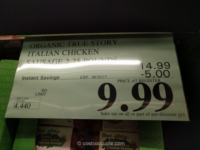True Story Organic Sweet Italian Chicken Sausage Costco
