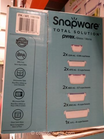 Snapware 18-Piece Glass Food Storage Set Costco
