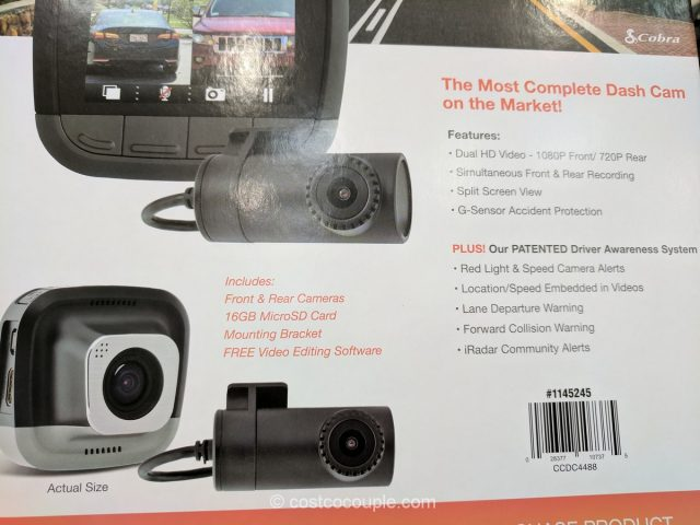 Cobra Drive HD Dual Dash Camera System Costco