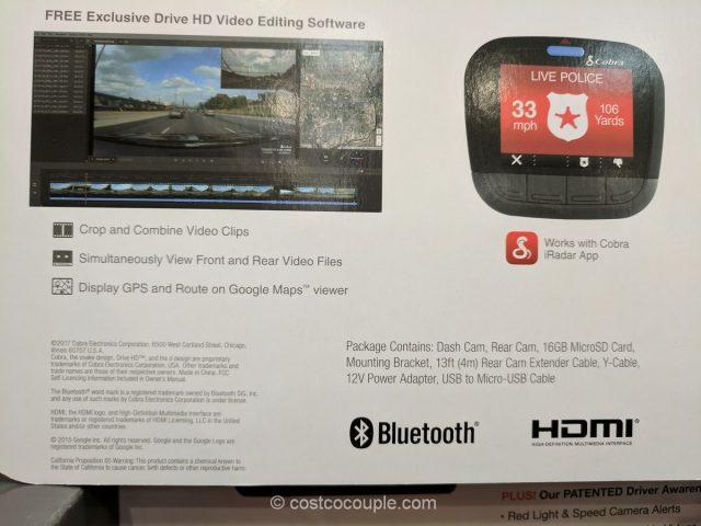 Cobra Drive HD Dual Dash Camera System Costco