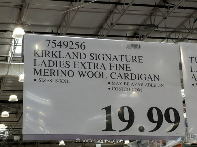 Kirkland Signature Ladies Extra Fine Merino Wool Cardigan Costco