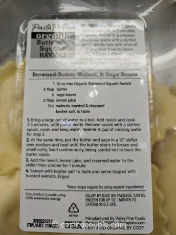 Pasta Prima Organic Butternut Squash Ravioli Costco