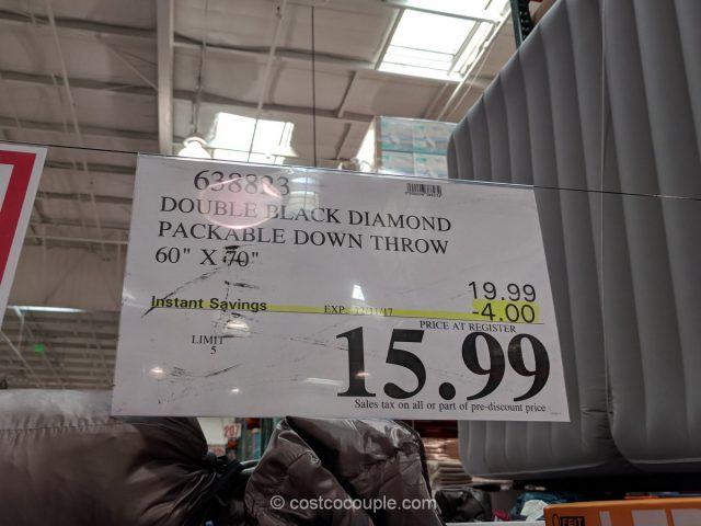 Double Black Diamond Packable Down Throw Costco