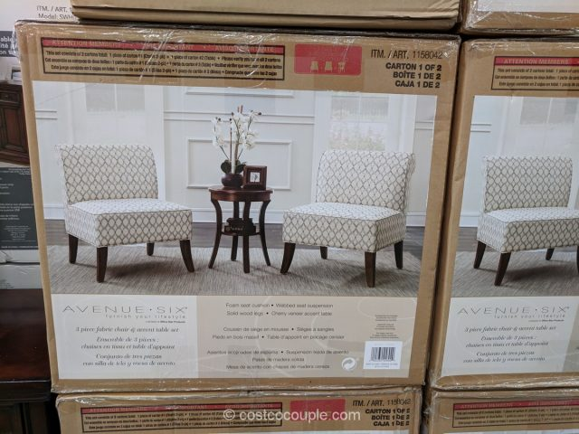 Ave Six 3-Piece Fabric Chair and Accent Table Set Costco
