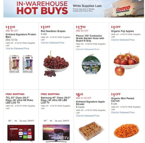 Costco In-Warehouse Hot Buys 04/09/18 to 04/18/18