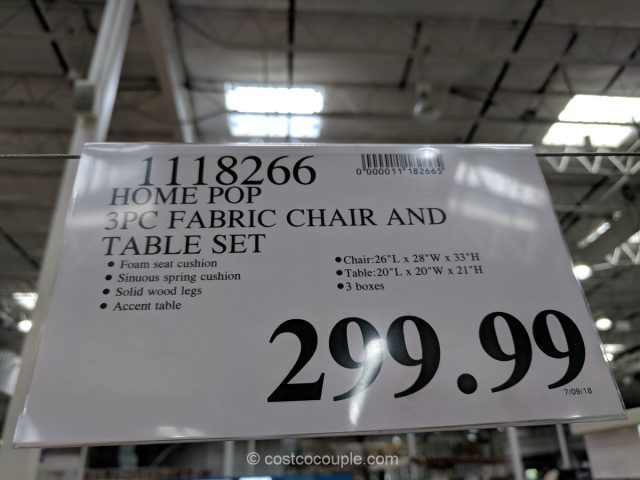 Home Pop Fabric Chair and Table Set Costco