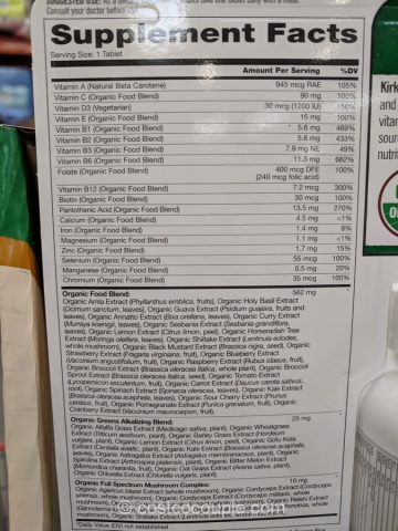 Kirkland Signature Organic Multivitamin Costco