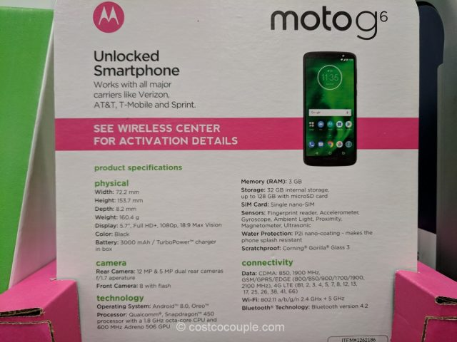 Moto G6 32 GB Unlocked Smartphone Costco