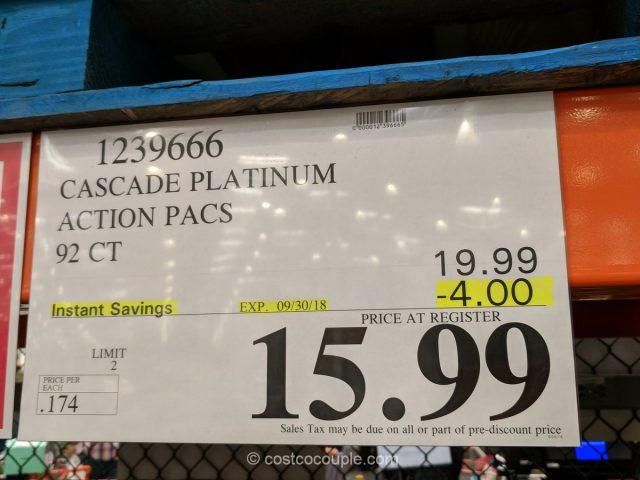 Cascade Platinum Action Pacs Costco