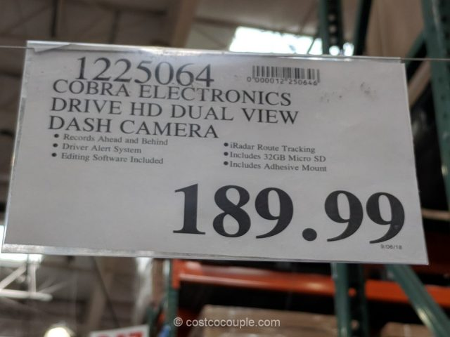 Cobra Electronics Drive HD Dual View Dash Camera Costco