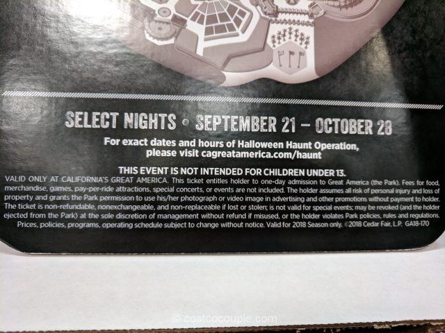 Gift Card Great America 2018 Halloween Haunt Costco