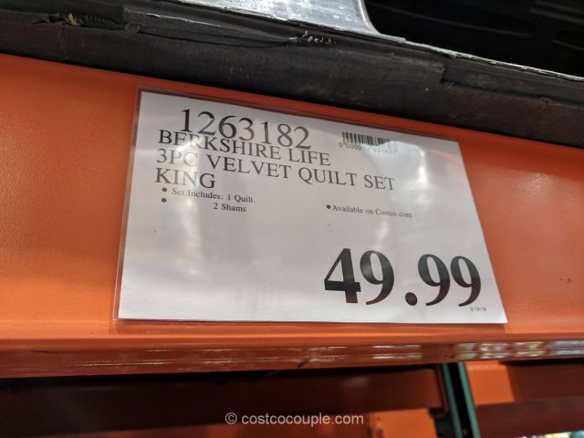 Berkshire Luxury Velvet 3-Piece Quilt Set Costco