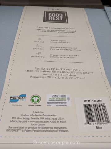 GoodRest Organic Cotton Sheet Set Costco