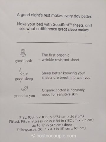 GoodRest Organic Cotton Sheet Set in Cal King Costco